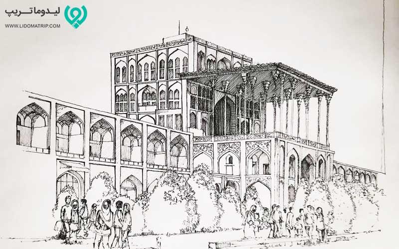 پلان کاخ عالی قاپو از جاذبه های گردشگری اصفهان